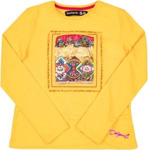 Żółta bluzka dziecięca Desigual z długim rękawem