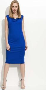 Niebieska sukienka Makadamia midi z dekoltem woda