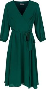 Sukienka Grandio kopertowa z szyfonu z długim rękawem