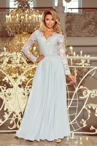 Sukienka NUMOCO z długim rękawem rozkloszowana z dekoltem w kształcie litery v