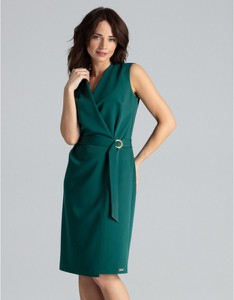Sukienka LENITIF z dekoltem w kształcie litery v ołówkowa midi