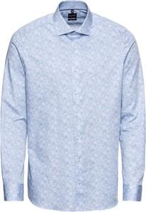 Niebieska koszula Olymp w stylu casual z klasycznym kołnierzykiem