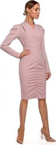 Różowa sukienka MOE z długim rękawem w stylu casual