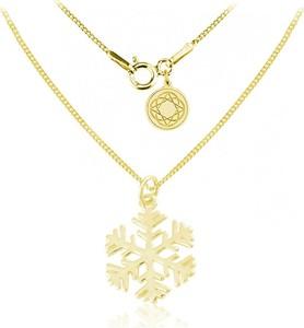 Lian Art Srebrny naszyjnik - Śnieżynka - Płatek Śniegu - 24k złocenie