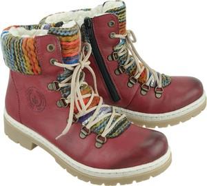 Bordowe buty Rieker