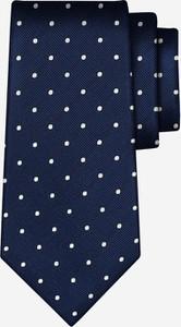 Niebieski krawat Wólczanka z jedwabiu
