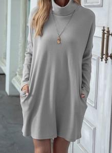 Sukienka Cikelly w stylu casual z golfem z długim rękawem