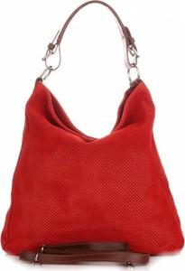 Czerwona torebka GENUINE LEATHER ze skóry w stylu glamour duża
