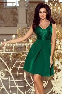 Zielona sukienka NUMOCO mini z dekoltem w kształcie litery v