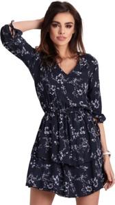 Niebieska sukienka Ivon mini z dekoltem w kształcie litery v