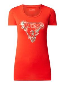 Pomarańczowy t-shirt Guess z okrągłym dekoltem