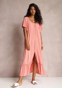Różowa sukienka Renee w stylu casual z krótkim rękawem maxi