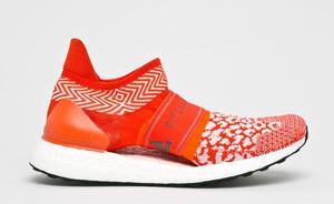 Czerwone buty sportowe Adidas Performance z płaską podeszwą sznurowane