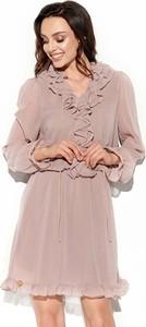 Różowa sukienka Lemoniade z kołnierzykiem z długim rękawem mini
