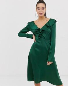 Zielona sukienka Missguided z długim rękawem