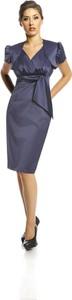 Niebieska sukienka Fokus z krótkim rękawem kopertowa midi