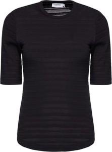Czarna bluzka Calvin Klein w stylu casual z okrągłym dekoltem z krótkim rękawem