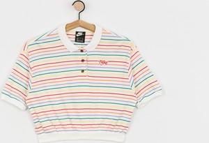Bluzka Nike z okrągłym dekoltem w sportowym stylu z bawełny