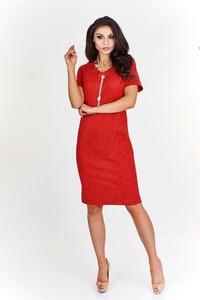 Czerwona sukienka Fokus z krótkim rękawem w stylu klasycznym z okrągłym dekoltem