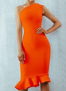 Pomarańczowa sukienka Cikelly z okrągłym dekoltem bez rękawów