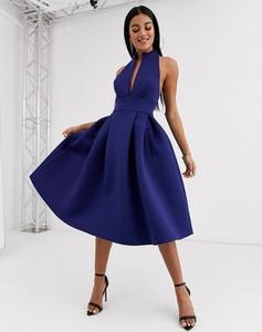 Granatowa sukienka Asos Design midi bez rękawów