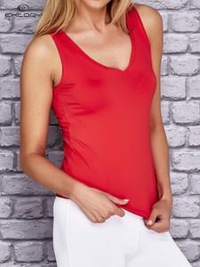 Czerwony top Sheandher.pl z tkaniny w sportowym stylu z okrągłym dekoltem