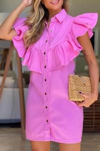 Różowa sukienka IVET mini z krótkim rękawem prosta