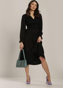 Czarna sukienka Renee z długim rękawem z dekoltem w kształcie litery v midi