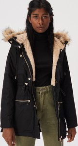 Czarna kurtka Sinsay długa w stylu casual