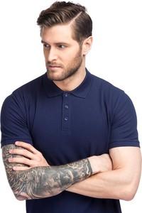 Granatowa koszulka polo Giacomo Conti z tkaniny