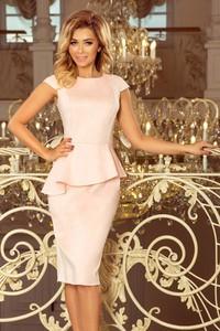 Różowa sukienka NUMOCO z krótkim rękawem midi