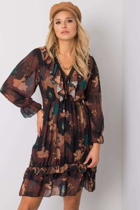 Sukienka Sheandher.pl mini z długim rękawem z dekoltem w kształcie litery v