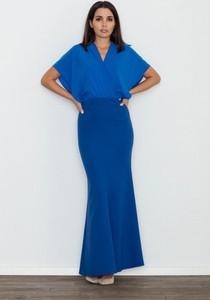 Sukienka Figl maxi z krótkim rękawem z dekoltem w kształcie litery v