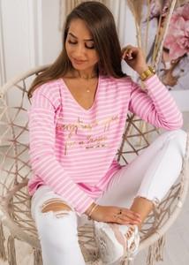 Różowa bluzka Fason z bawełny w stylu casual z długim rękawem