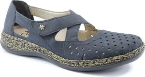 Granatowe sandały Rieker na rzepy na koturnie