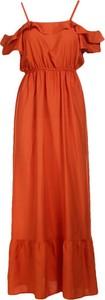 Sukienka Multu z krótkim rękawem maxi z dekoltem w kształcie litery v