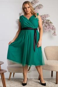 Zielona sukienka KARKO midi z tiulu z dekoltem w kształcie litery v