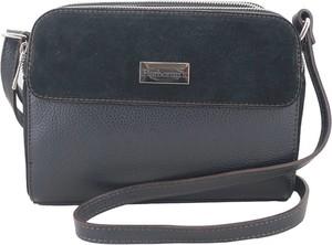 Czarna torebka Barberini`s na ramię średnia z zamszu