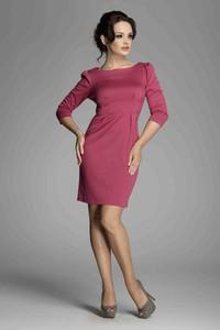 Różowa sukienka Figl z długim rękawem midi z okrągłym dekoltem