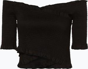 Granatowy t-shirt NA-KD z długim rękawem