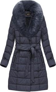Granatowy płaszcz Libland ze skóry ekologicznej