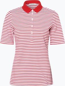 Czerwony t-shirt März z krótkim rękawem z kołnierzykiem