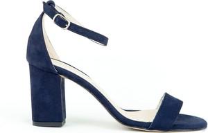 Niebieskie sandały Zapato z klamrami na wysokim obcasie