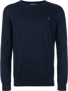 Niebieski sweter Ralph Lauren z okrągłym dekoltem w stylu casual z wełny
