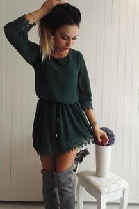 Zielona sukienka FidoStyle z szyfonu mini z długim rękawem
