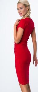Czerwona sukienka Fasardi kopertowa mini z krótkim rękawem