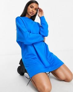 Niebieska sukienka Asos oversize z długim rękawem w stylu casual
