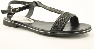 Czarne sandały M.Daszyński w stylu casual z klamrami z płaską podeszwą