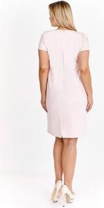 Różowa sukienka Nubile z okrągłym dekoltem z krótkim rękawem midi