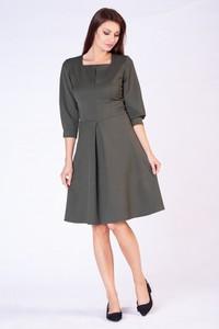 Zielona sukienka butik-choice.pl trapezowa midi z długim rękawem